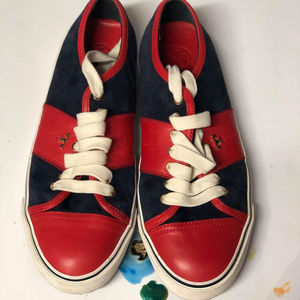 Tory Burch Navy/Red Suede Leather Sneakers 9.5